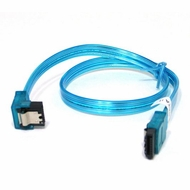 "18"" SATA II Data Cable, UV Blue, w/Latch, Right Angle to Straight"