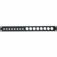 """19 inch Unloaded Panel for (8) 1/4"""" and (8) XLR, 1U - Black"""