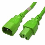 2 Foot Green IEC320 C14/C15 14AWG 15A 250V Power Cable