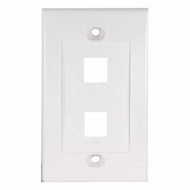 2 Port Decora Style Wall Plate for Keystone Jacks, White