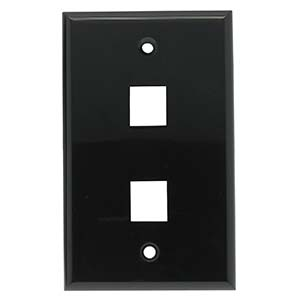 2 Port Smooth Faced Wall Plate for Keystone Jacks, Black