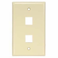 2 Port Smooth Faced Wall Plate for Keystone Jacks - Ivory