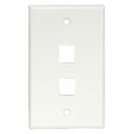 2 Port Smooth Faced Wall Plate for Keystone Jacks, White