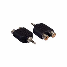 2 RCA Jacks to 1 3.5mm Stereo Adapter - Nickel