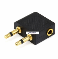 2 x 3.5mm Plug to 3.5mm Plug Airline Adaptor - Gold Plated (Right Angle)