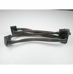 "OKGear 24"" 4 Pin Molex to (4) SATA II Right Angle Power Cables, with Net Jacket"