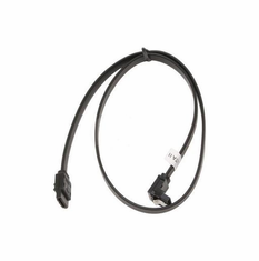 """24"""" SATA II Data Cable, Black, w/Latch, Right Angle to Straight"""