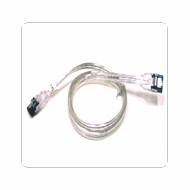 "24"" SATA II Data Cable, Clear Silver, w/Latch, Straight on both ends"