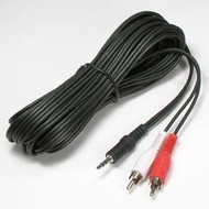 """25 Foot Adapter Cable, 3.5mm (1/8"""") Male Plug to 2 RCA Male Plugs"""