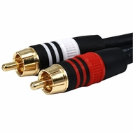 25 Foot Premium 2 RCA Plugs Male / Male 22 AWG Cable
