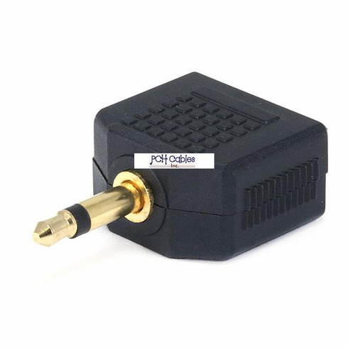 3.5mm Mono Plug to 2 x 3.5mm Mono Jack Splitter Adaptor - Gold Plated