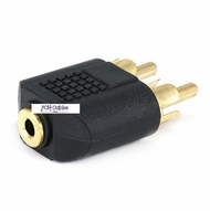 3.5mm Stereo Jack to 2 RCA Plug Splitter Adaptor - Gold Plated
