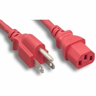 3 Foot 18AWG C13 to 5-15P 10A/125V Red Power Cord