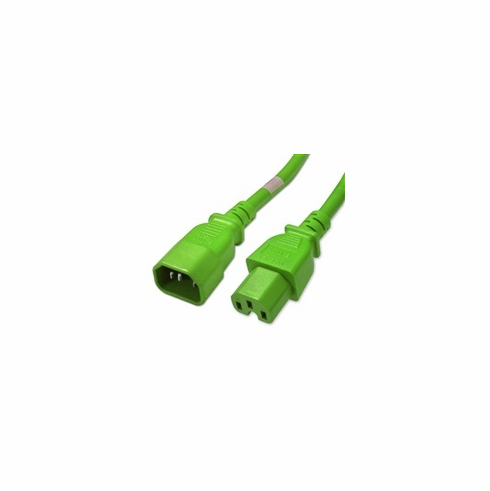 3 Foot Green IEC320 C14/C15 14AWG 15A 250V Power Cable