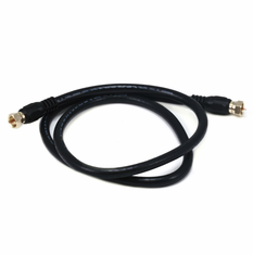 3 Foot Premium 18AWG RG6 CL2 (In-Wall) Quad Shield Gold Plated Coax Cable - Black