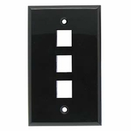3 Port Smooth Faced Wall Plate for Keystone Jacks, Black