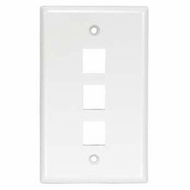 3 Port Smooth Faced Wall Plate for Keystone Jacks, White