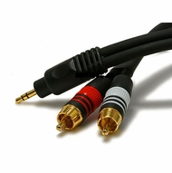 35 Foot Premium 3.5mm Stereo Male to 2 Male RCA Plugs, 22awg Cable with Gold Plated Connectors