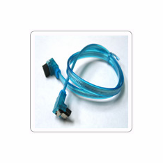 "36"" SATA II Data Cable, UV Blue, w/Latch, Right Angle to Right Angle"