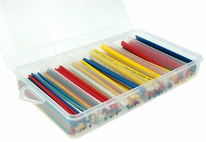 4 inch Pre-Cut Heat Shrink Sleeve Tubing Assorted Size Set, 2:1, 160pcs - Assorted Colors - Click to enlarge