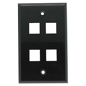 4 Port Smooth Faced Wall Plate for Keystone Jacks, Black