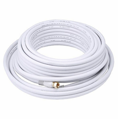 50 Foot Premium 18AWG RG6 CL2 (In-Wall) Quad Shield Gold Plated Coax Cable - White