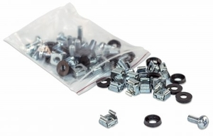 50 Pack of M6 Cage Nuts with Screws and Washers - Click to enlarge