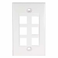 6 Port Decora Style Wall Plate for Keystone Jacks, White