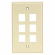 6 Port Smooth Faced Wall Plate for Keystone Jacks - Ivory