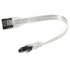 "6"" SATA 6Gbit Data Cable, Clear Silver, w/Latch, Straight on both ends"