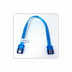 "6"" SATA II Data Cable, UV Blue, w/Latch, Straight on both ends"