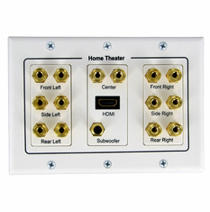7.1 Surround Sound Distribution 3-Gang Wall Plate with HDMI