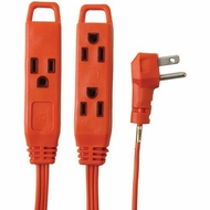 8 Foot, 3 Outlet, Indoor Extension Cord (Orange)