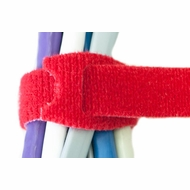 8 Inch Hook and Loop Cable Ties - 10 Pack - Red