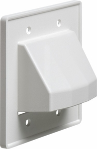 Arlington CE2 The Scoop cable entry cover plate, dual gang, White - Click to enlarge
