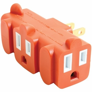 AXIS YLCT-10 3 Outlet Heavy Duty Grounding Adapter (Orange) - Click to enlarge