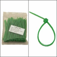 """Bag of 100 4"""" Green Cable Ties"""