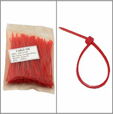 "Bag of 100 4"" Red Cable Ties"