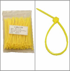 """Bag of 100 4"""" Yellow Cable Ties"""