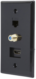 Black Recessed HDMI Wall Plate, with HDMI, CAT5e and Coax Connector - Click to enlarge