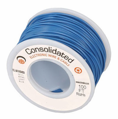 Blue 25 Foot 24 AWG stranded hook-up wire