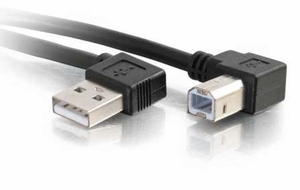 Cables to Go 1 Meter USB 2.0 Angled Type A Male to B Male - BLACK (3.3 Feet) - Click to enlarge