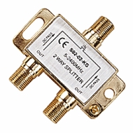 CCTV, CATV, and Digital Satellite Gold Plated F-type 2 Way 5-2400MHz Signal Splitter
