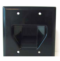 DataComm Double Gang Recessed Low Voltage Cable Wall Plate - Black