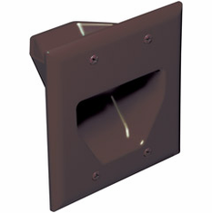 DataComm Double Gang Recessed Low Voltage Cable Wall Plate - Brown