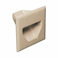 DataComm Double Gang Recessed Low Voltage Cable Wall Plate - Ivory