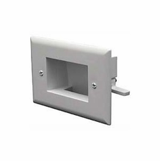 DataComm Easy Mount Recessed Low Voltage Cable Plate - White