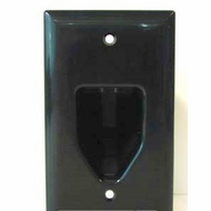 DataComm Single Gang Recessed Low Voltage Cable Wall Plate - Black