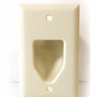 DataComm Single Gang Recessed Low Voltage Cable Wall Plate - Light Almond