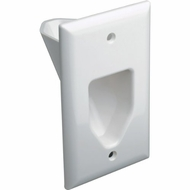 DataComm Single Gang Recessed Low Voltage Cable Wall Plate - White